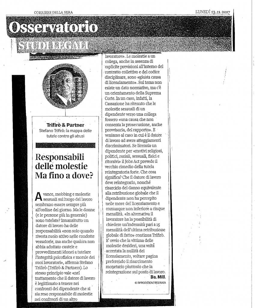 ARTICOLO CORRIERE 13.11.17